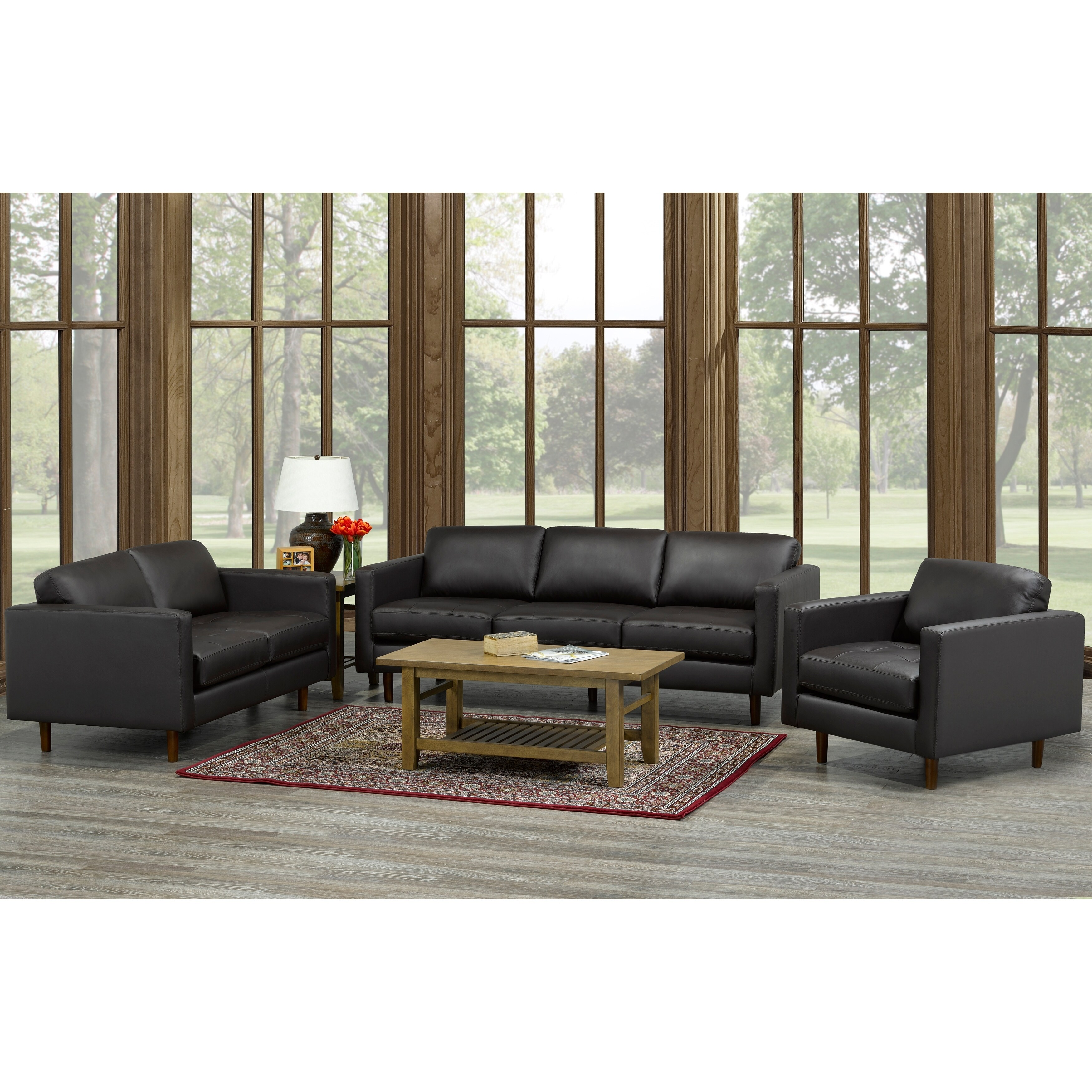 Lola Mid Century Modern Chocolate Brown Top Grain Italian Leather Tufted Sofa Loveseat And Chair