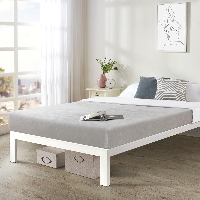 california king size bed frame heavy duty steel slats platform series titan c white crown comfort