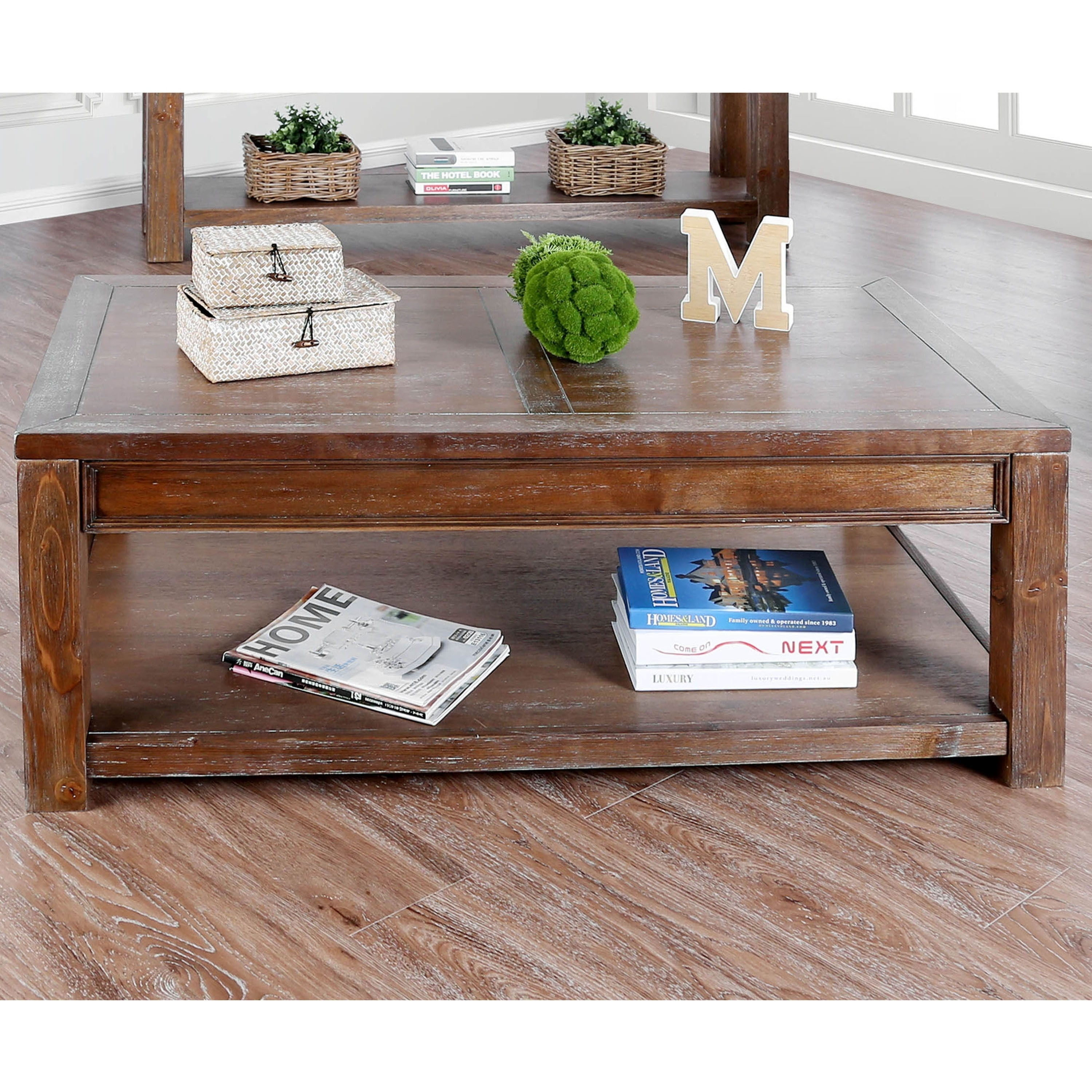 Shop Furniture Of America Sema Transitional Solid Wood Coffee Table Overstock 20865661 Oak