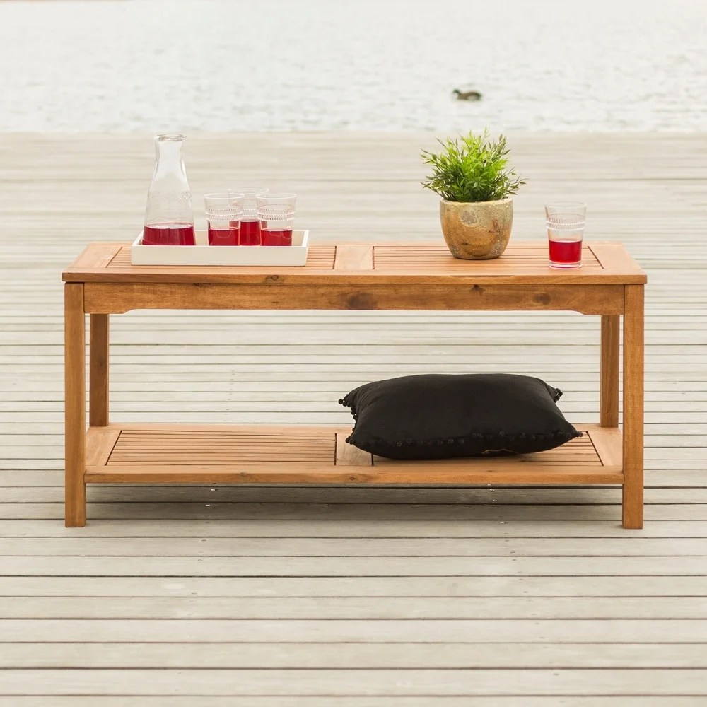 surfside 50 inch acacia outdoor coffee table brown by havenside home