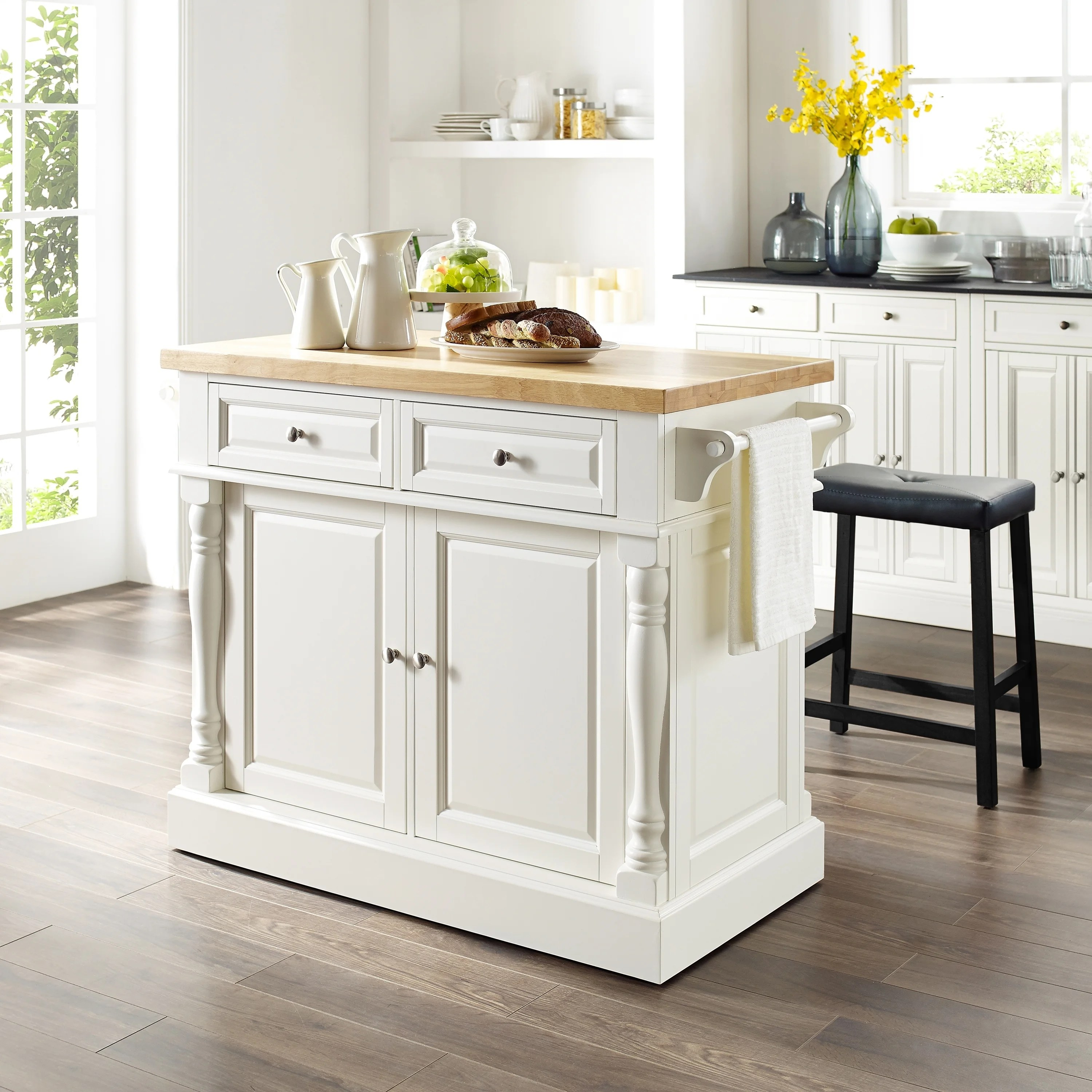 Copper Grove Kalesar Butcher Block Top White Kitchen Island With 24 Inch Black Upholstered Saddle Stools Overstock 20931614