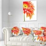 Designart Orange Gerbera On White Background Floral Throw Pillow On Sale Overstock 20950475