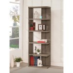 Porch Den Conkling Weathered Grey Wood 5 Shelf Bookcase 23 50 X 11 50 X 70 75