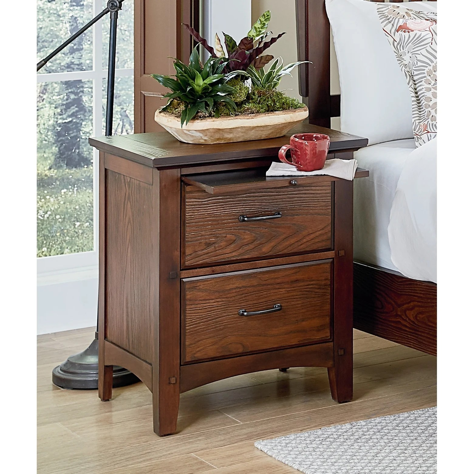 Osp Home Furnishings Modern Mission Bedroom 2 Drawer Nightstand With Tray In Vintage Oak