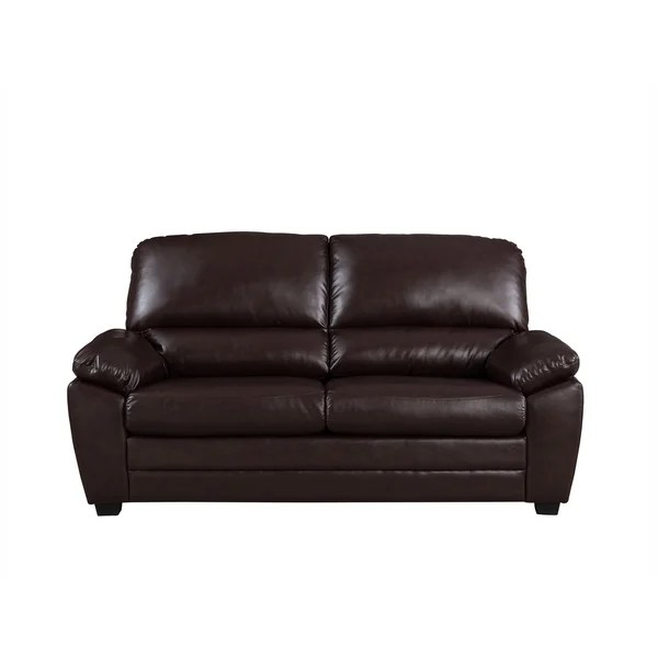 cary 71 dark brown faux leather sofa