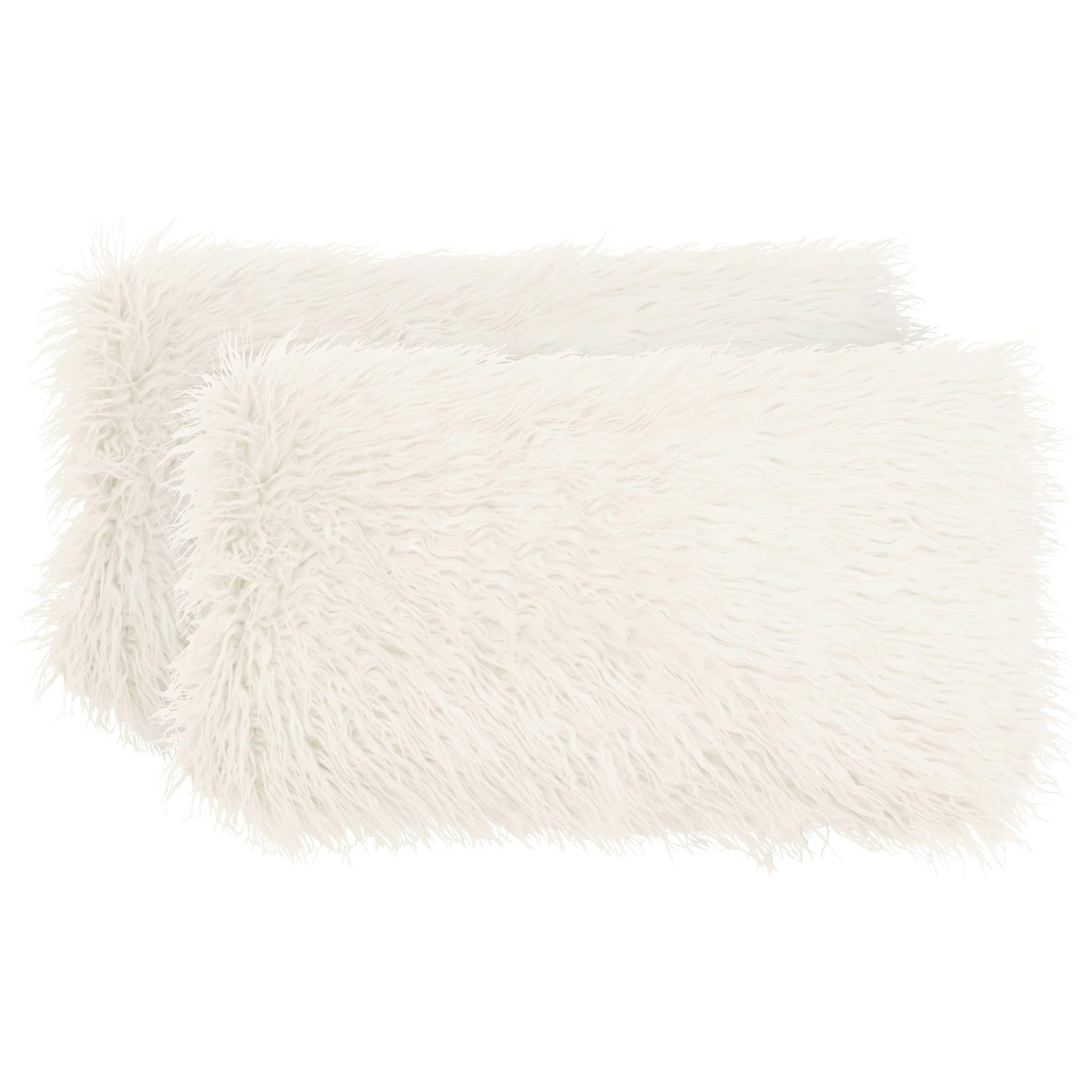 boho living mongolian faux fur 2 piece decorative lumbar pillow set