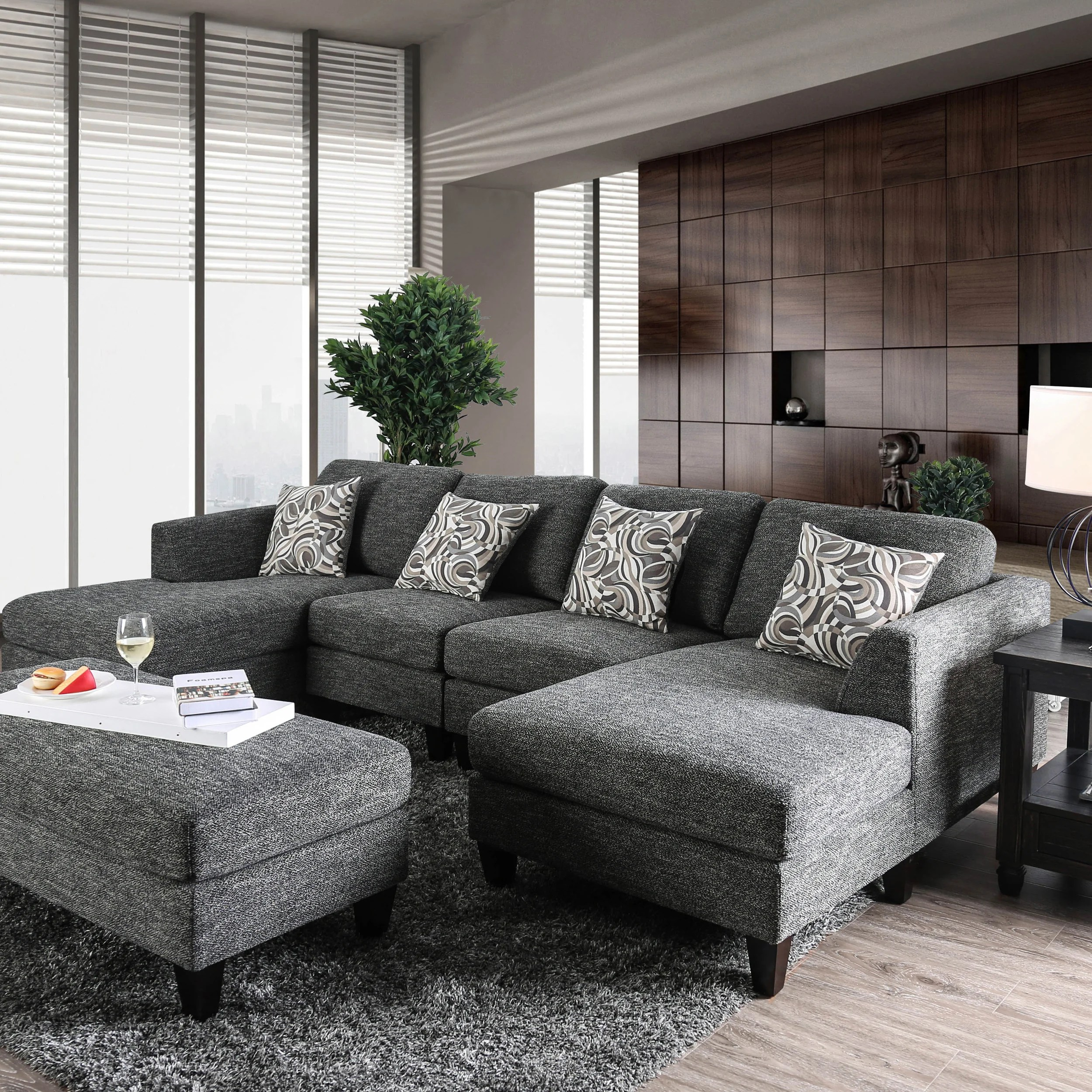 Furniture Of America Lauf Modern Grey 4 Piece Modular Sectional