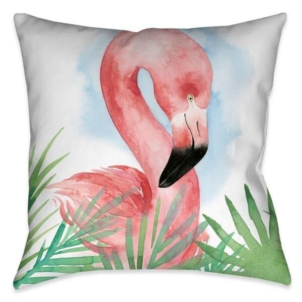 laural home tropical flamingo outdoor decorative pillow