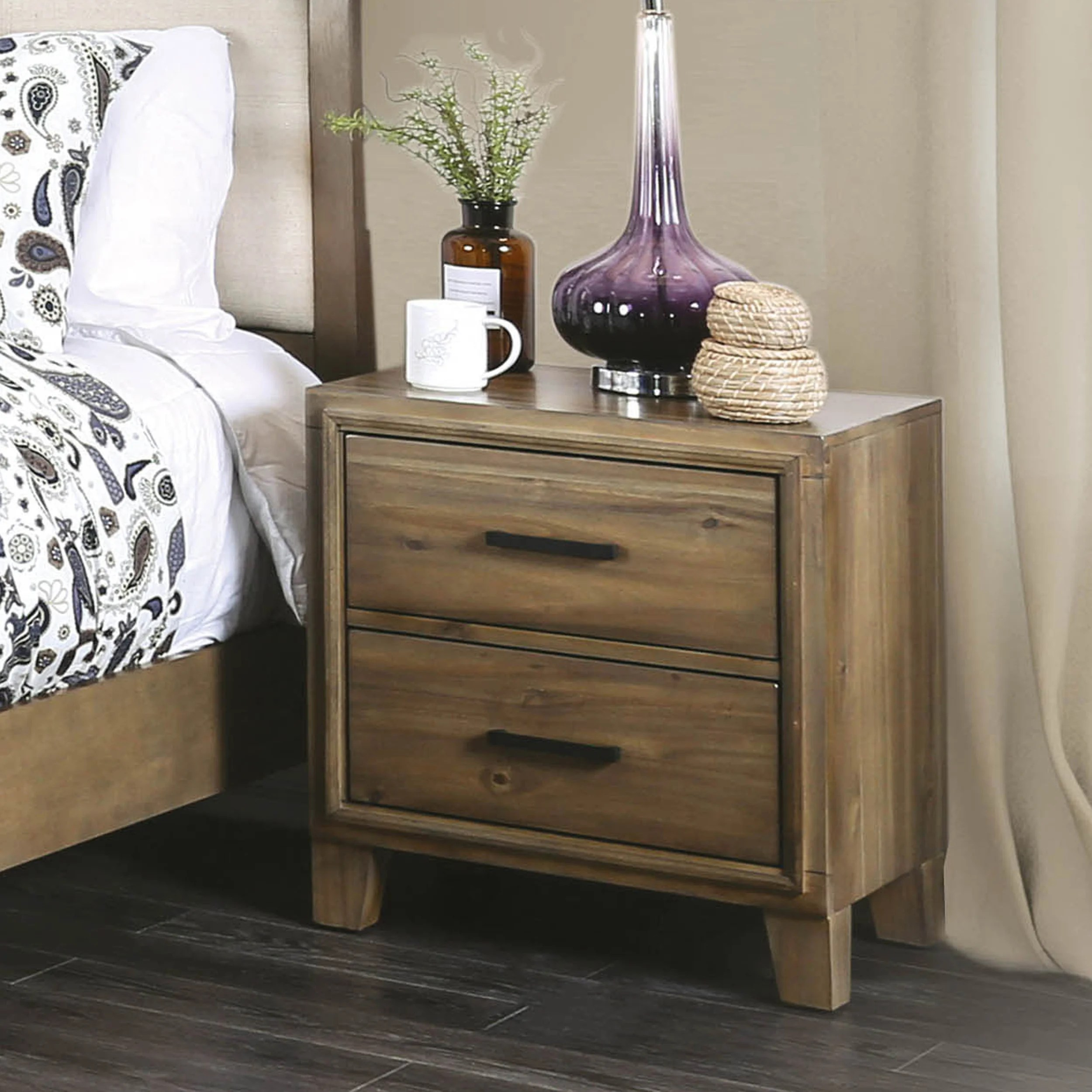 Furniture Of America Cody Rustic Oak Solid Wood 2 Drawer Nightstand
