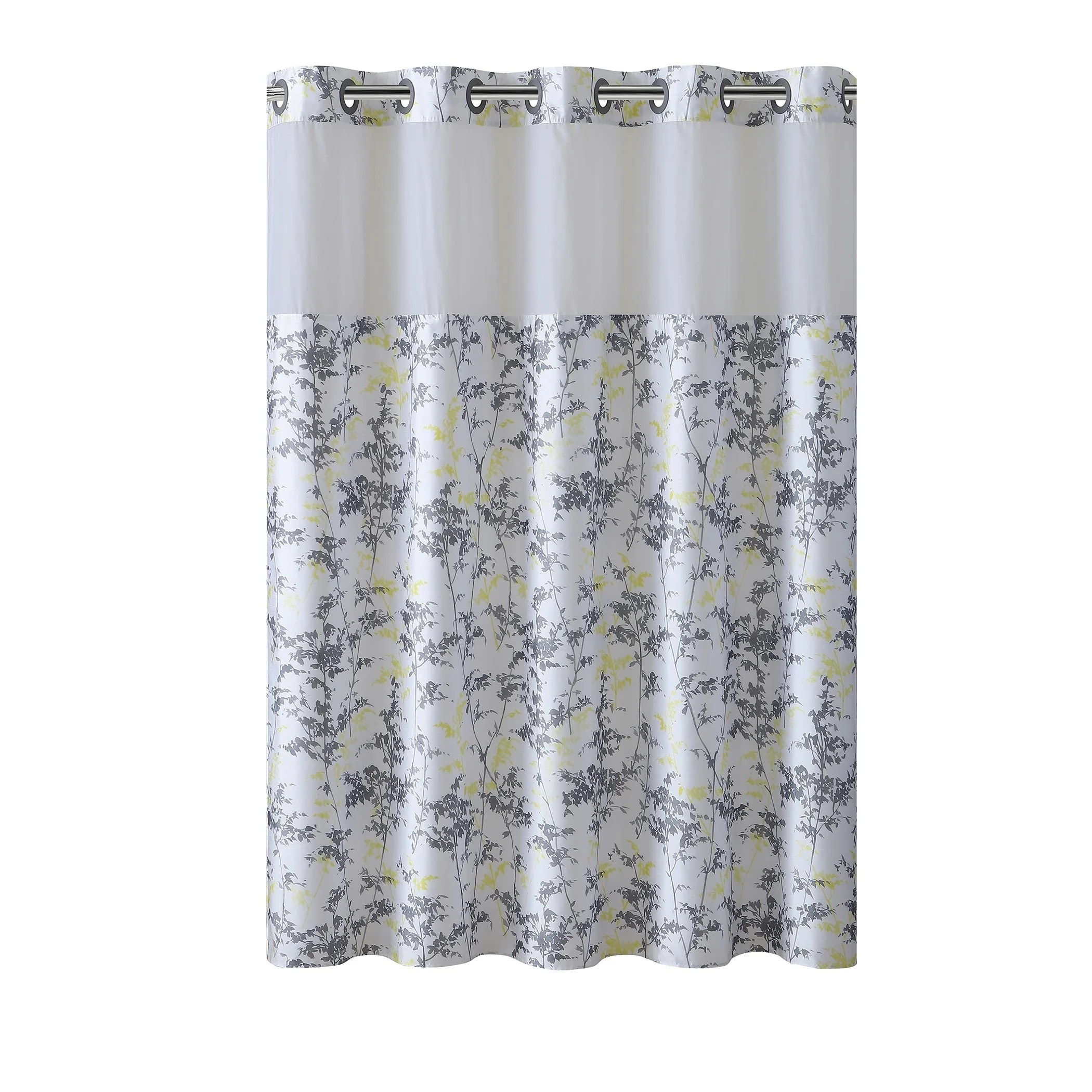 hookless shower curtain floral leaves gray yellow