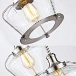 Industrial Brushed Nickel Glass Pendant Lighting Kitchen Light Fixture Overstock 21826942