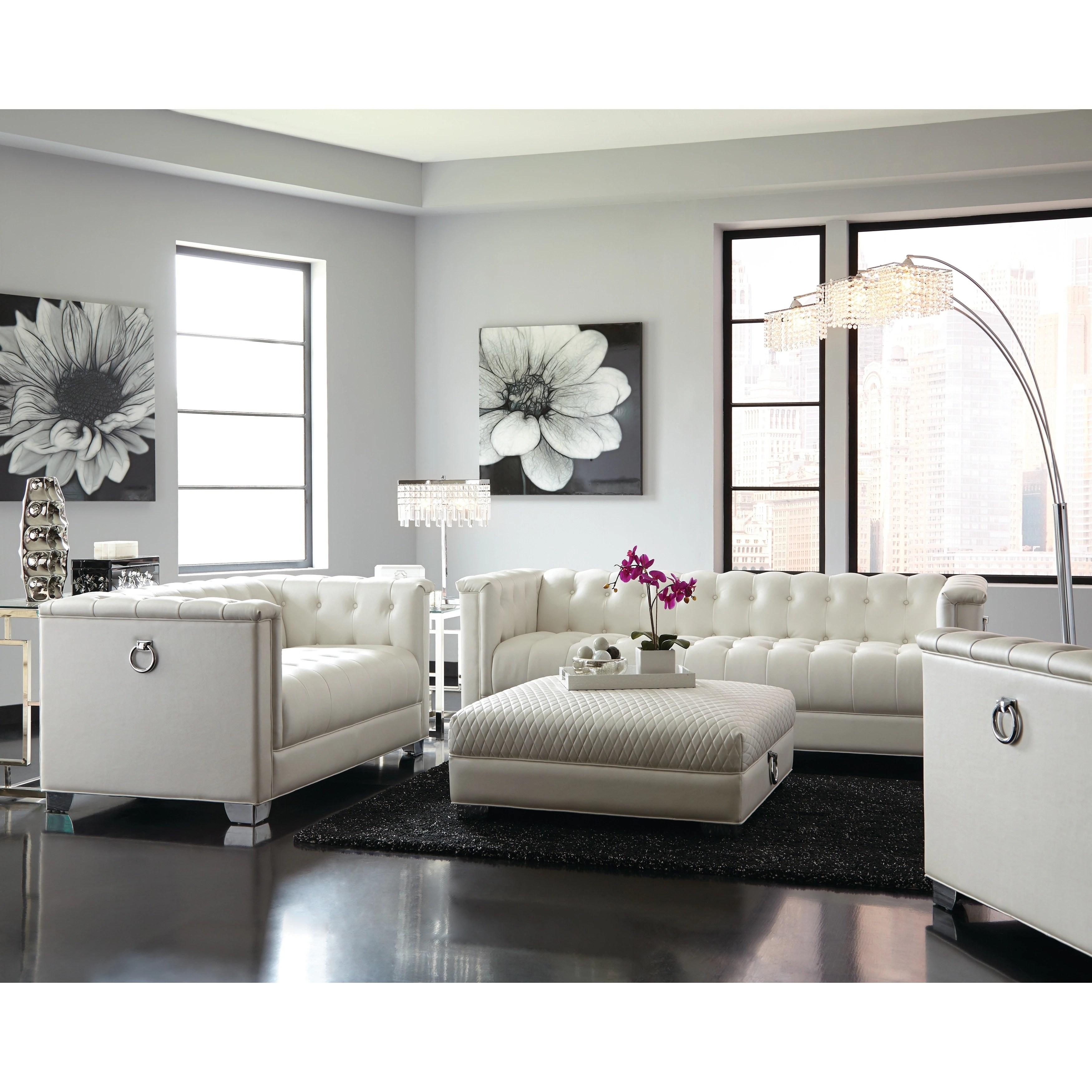 Chaviano Contemporary White 3 Piece Living Room Set