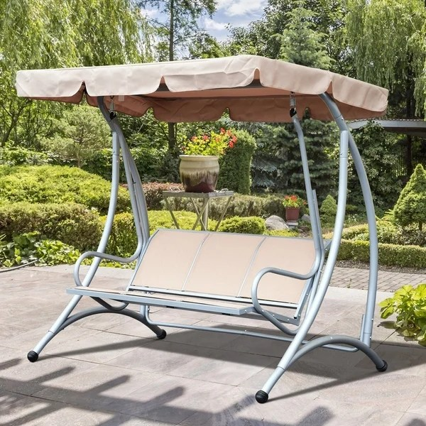 outsunny outsunny 3 seat steel frame