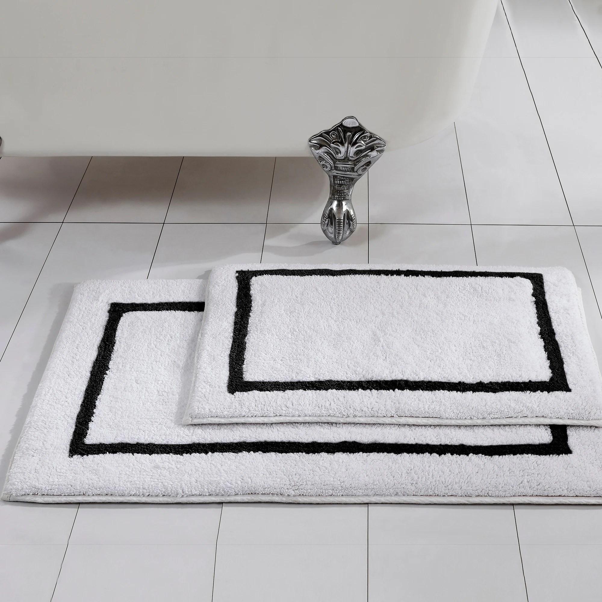 Modern Threads 2 Pack Reversible Contrast Stripe Bath Mat Set Overstock 21893457