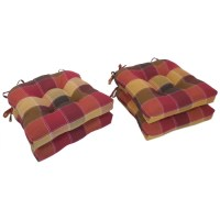 Essentials Harris Plaid Woven Plaid Tieback Chair Pads in Red (Set of 4) (As Is Item)