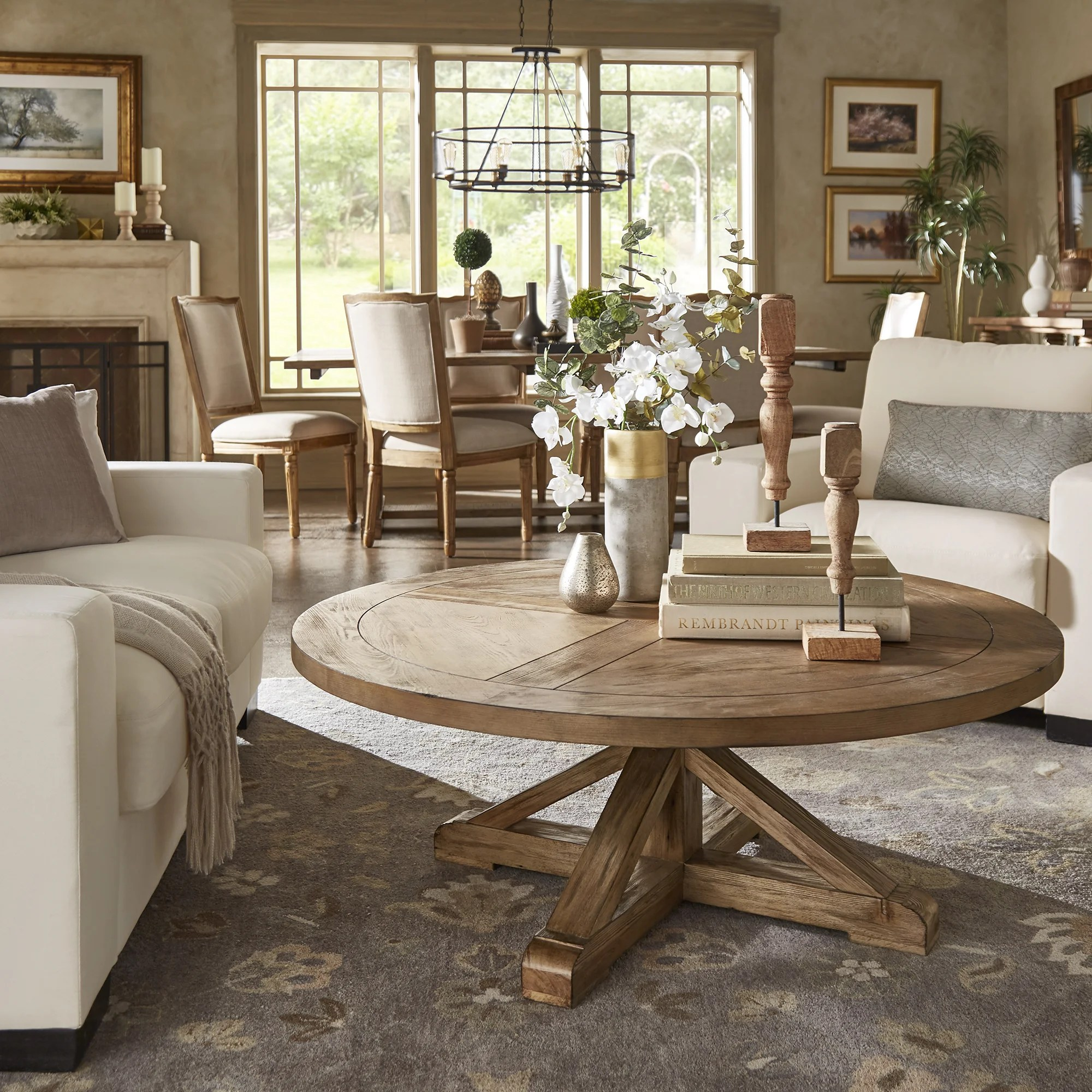 benchwright rustic x base round pine wood coffee table by inspire q artisan