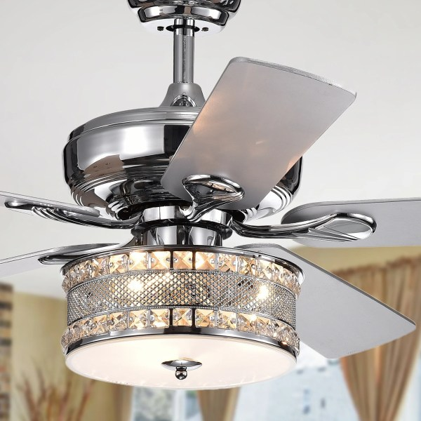 Buy Ceiling Fans Online at Overstock com   Our Best Lighting Deals Davrin 5 Blade 52 Inch Chrome Lighted Ceiling Fans with 3 Light Crystal
