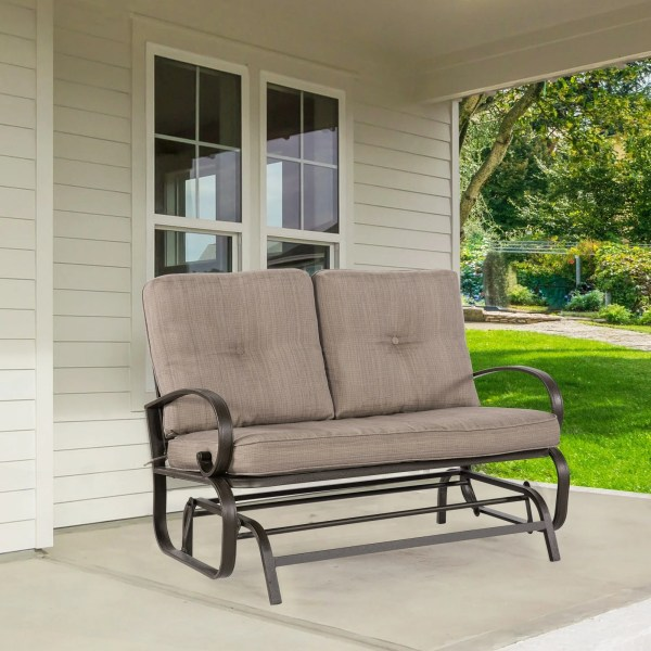 Buy Wrought Iron Outdoor Benches Online at Overstock com   Our Best     2 Person Loveseat Cushioned Rocking Bench Furniture Patio Swing Rocker  Lounge Glider Chair Outdoor Patio