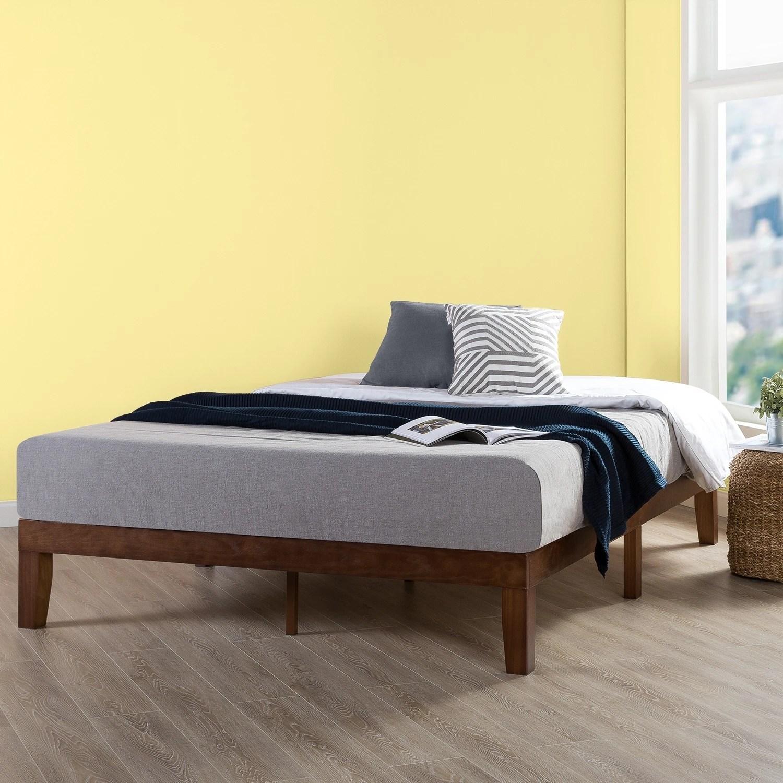 Full Size 12 Inch Classic Solid Wood Platform Bed Frame Antique Espresso Crown Comfort Overstock 22378115