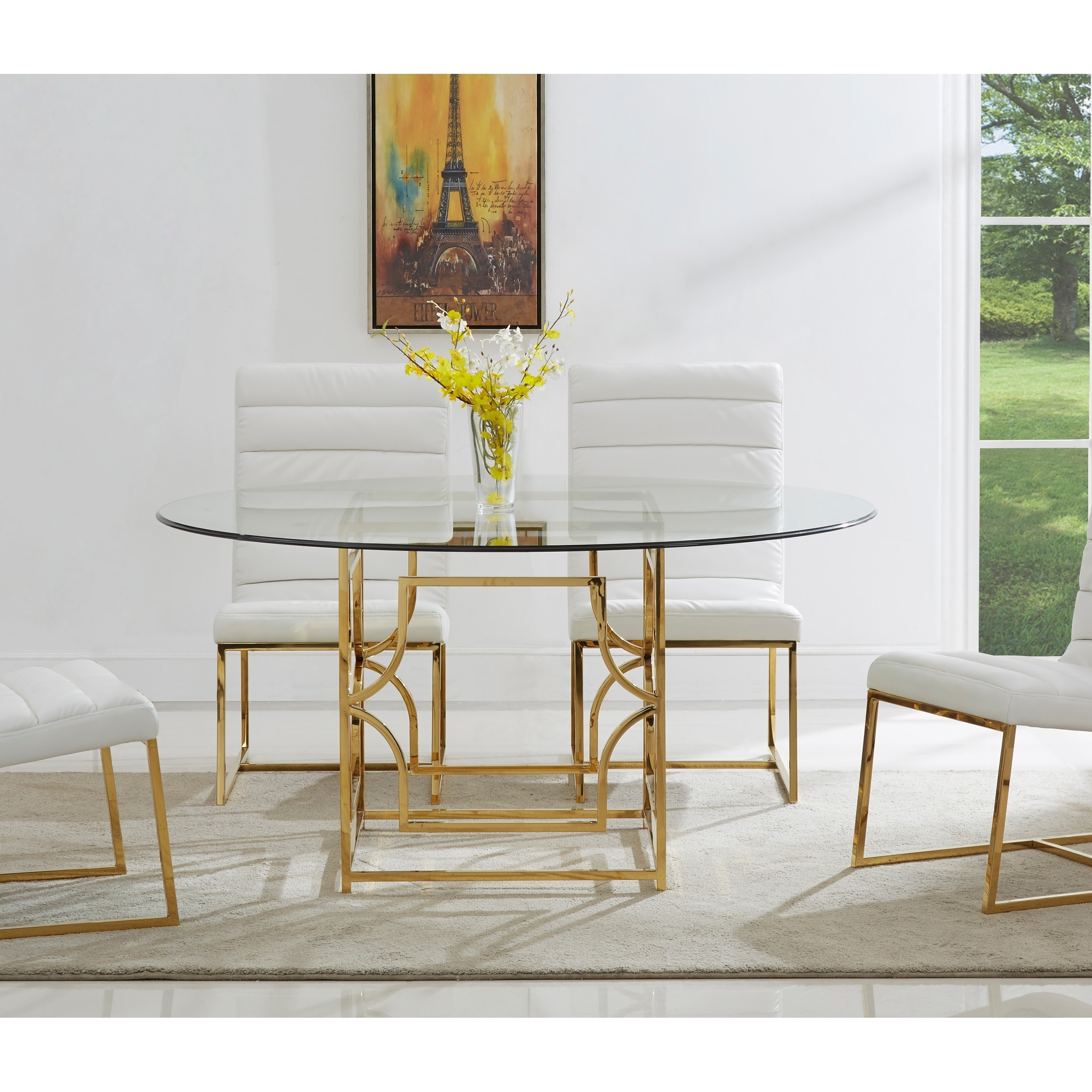 best master furniture 54 inch round glass dining table