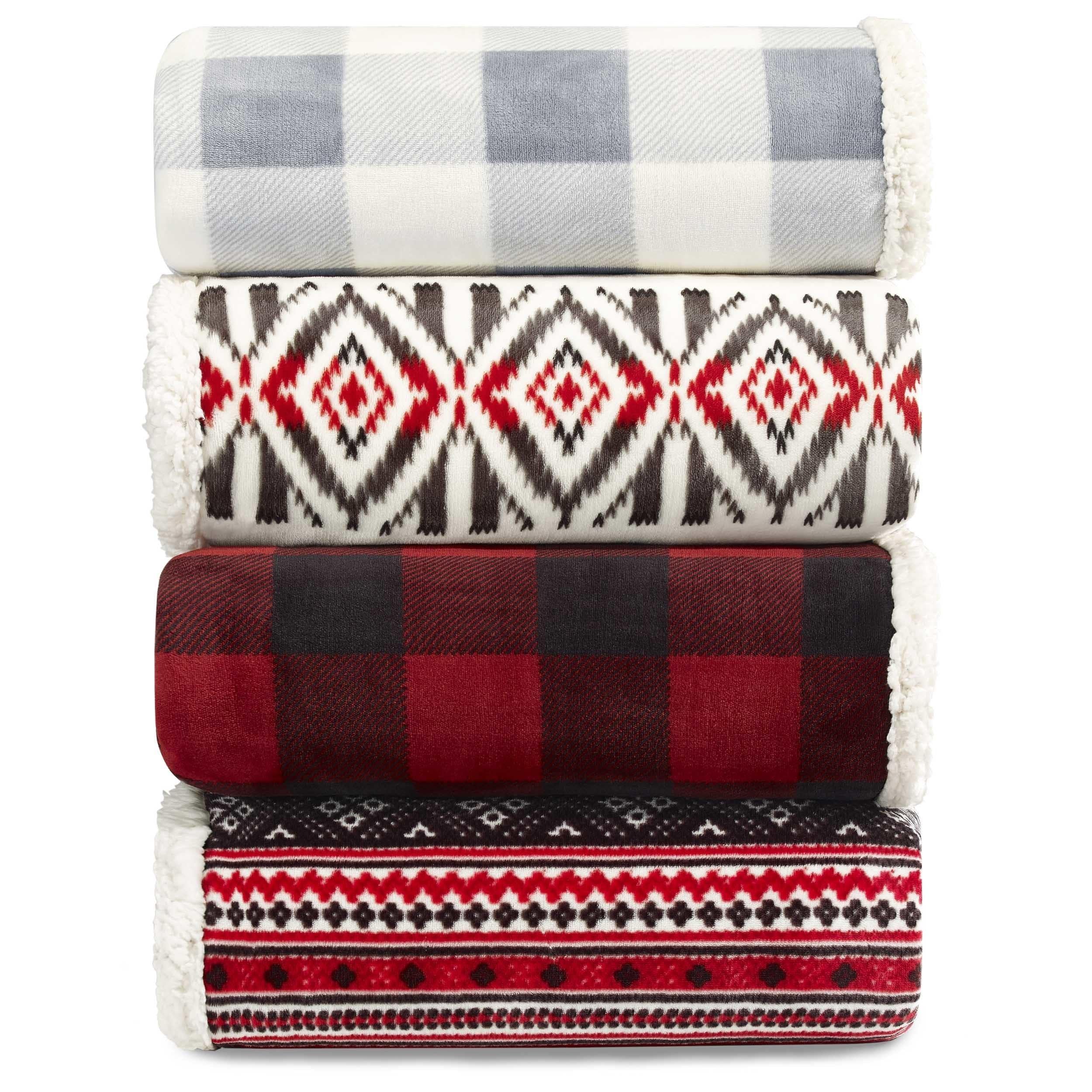 eddie bauer plush plaid sherpa blanket