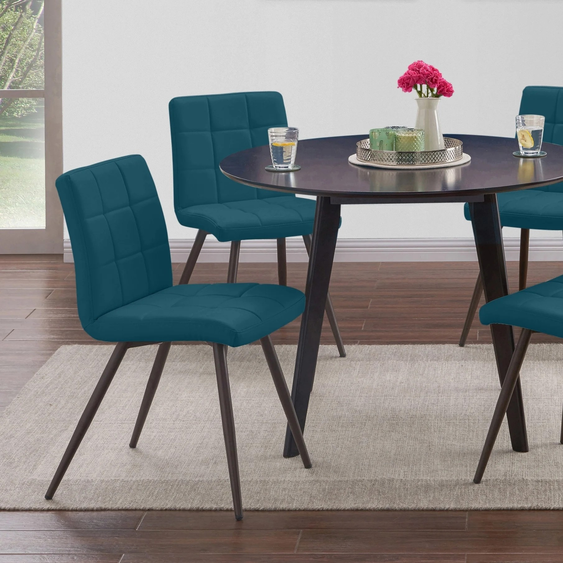 Handy Living Manzanola Blue Faux Leather Armless Upholstered Dining Chairs Set Of 4 Overstock 22578796