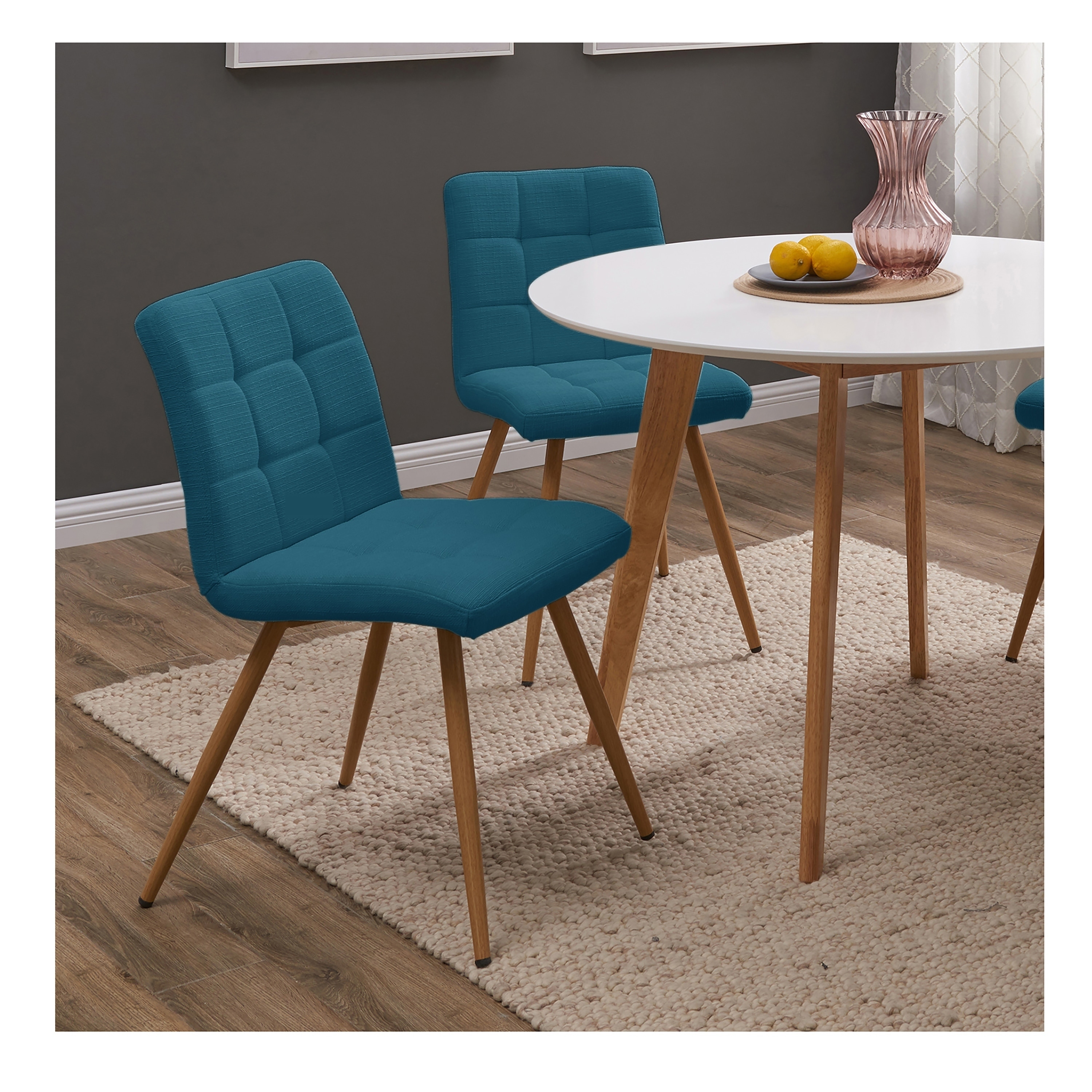 Handy Living Manzanola Peacock Blue Linen Armless Upholstered Dining Chairs Set Of 4 Overstock 22578801