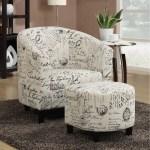 Porch Den Sahara French Script White Accent Chair And Ottoman 2 Piece