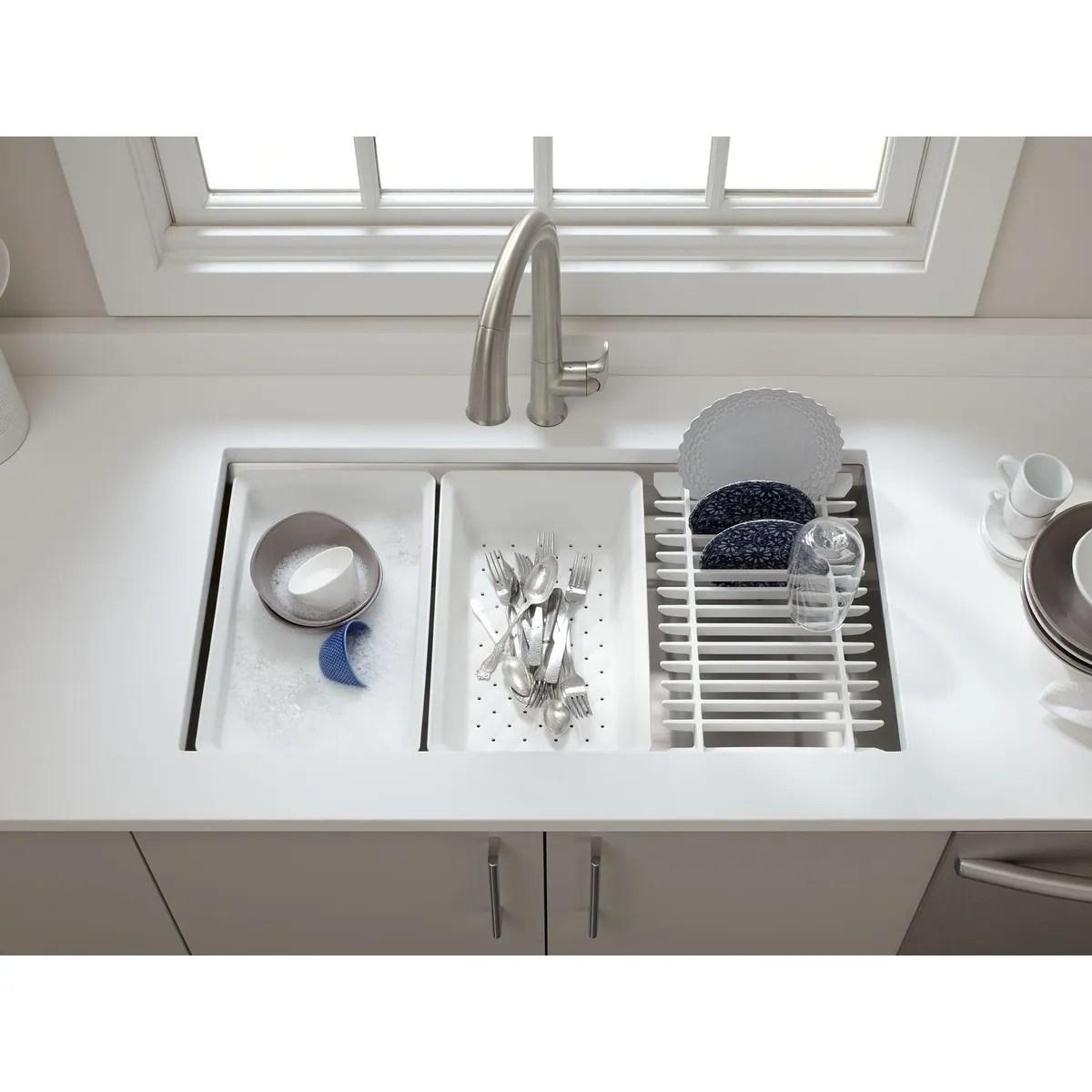 kohler prolific 33 x 17 3 4 x 10 15 16 undermount single bowl kitchen sink with accessories k 5540 na