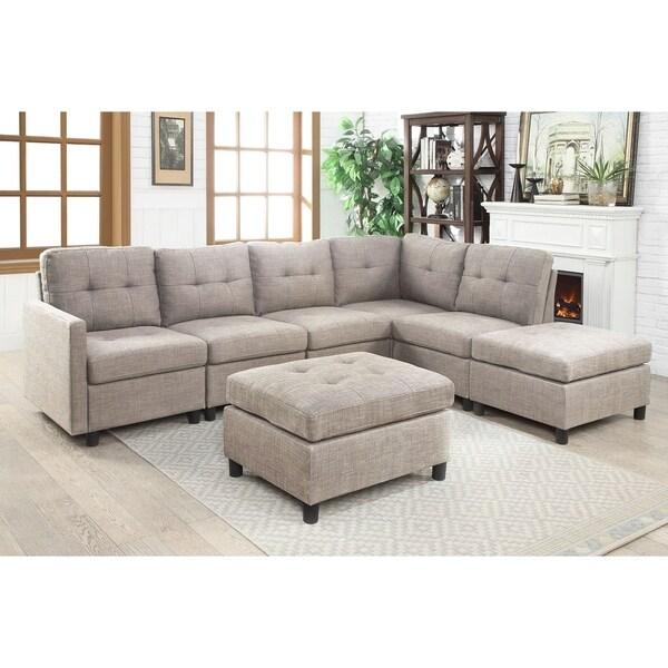 Shop 7pcs Grey Linen Fabric Modular Sectional Sofa Free Shipping Today Overstock 22749969