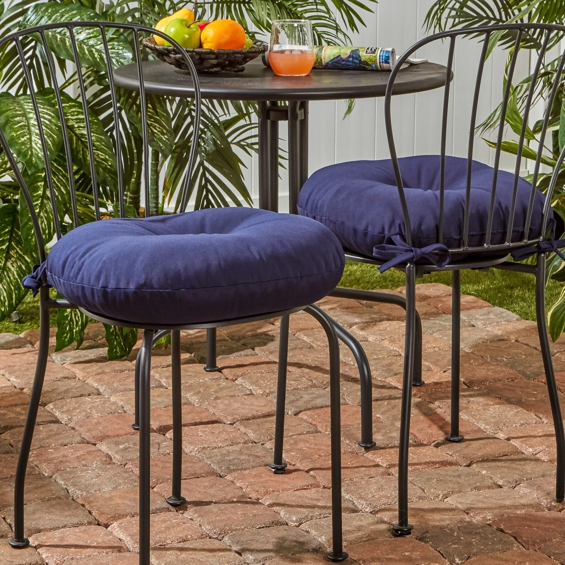 driftwood 18 inch round outdoor bistro chair cushion set of 2 by havenside home 18w x 18l