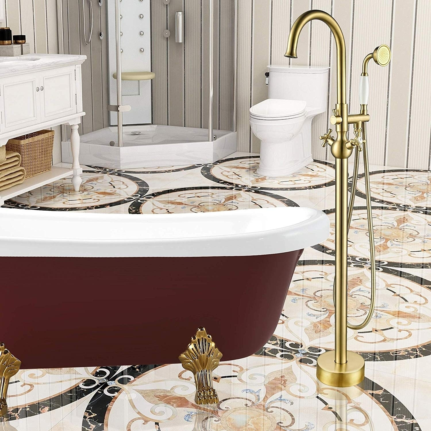 vanity art brushed brass finished bathtub faucet freestanding floor mounted single handle mixer tap with handheld shower