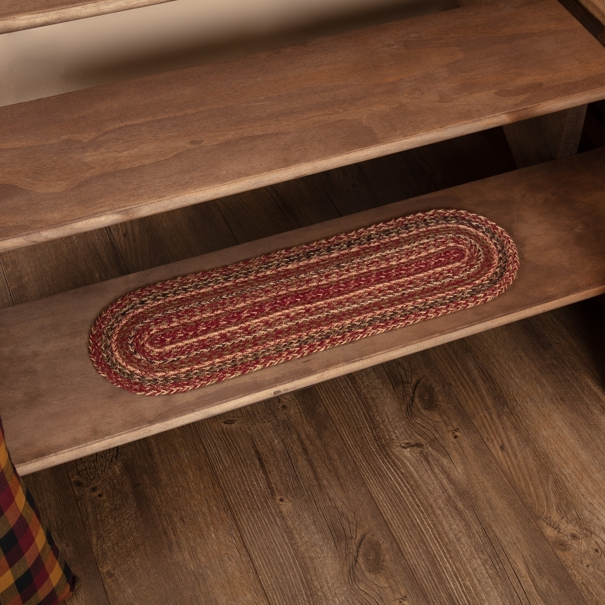 Shop Vhc Cider Mill Burgundy Red Primitive Country Flooring Jute | 8 Inch Carpet Stair Treads | Bullnose Carpet | Wood Stairs | Rubber Backing | Mat | Non Slip Stair