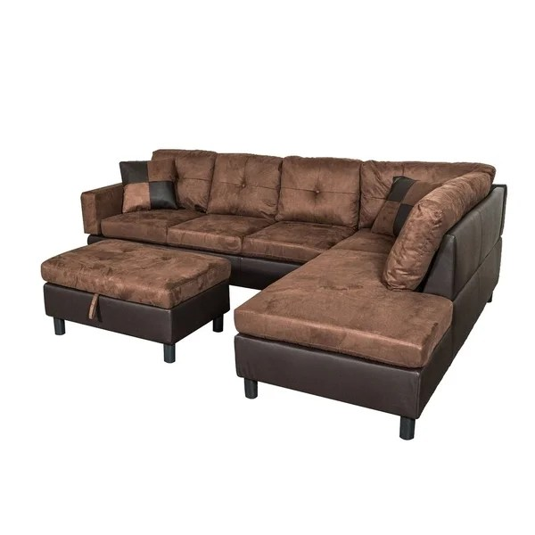suede sectional sofa with faux leather