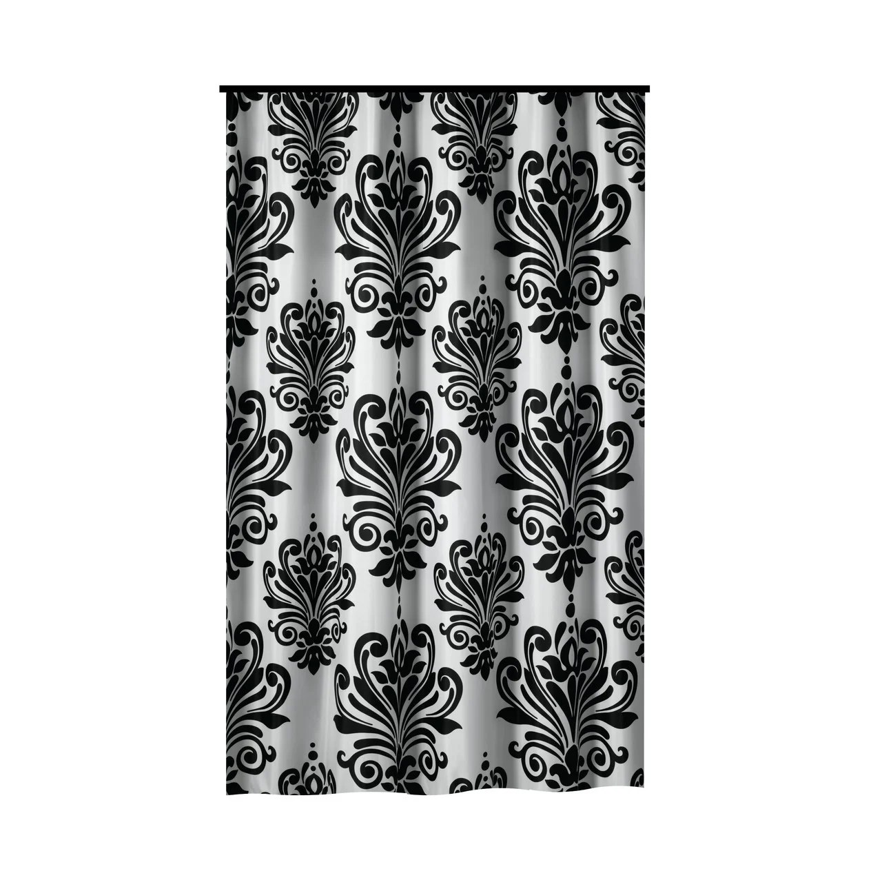 gamma extra long shower curtain 78 x 72 inch black and white baroque fabric