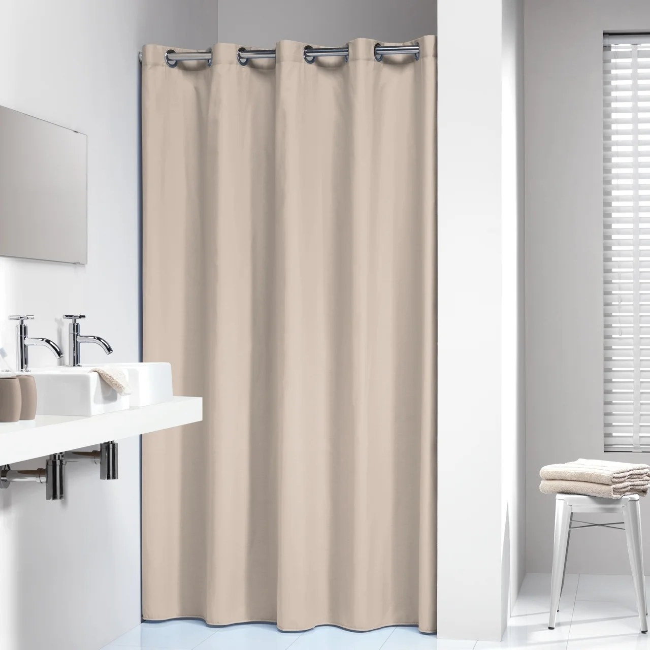 sealskin extra long hookless shower curtain 78 x 72 inch coloris beige cotton