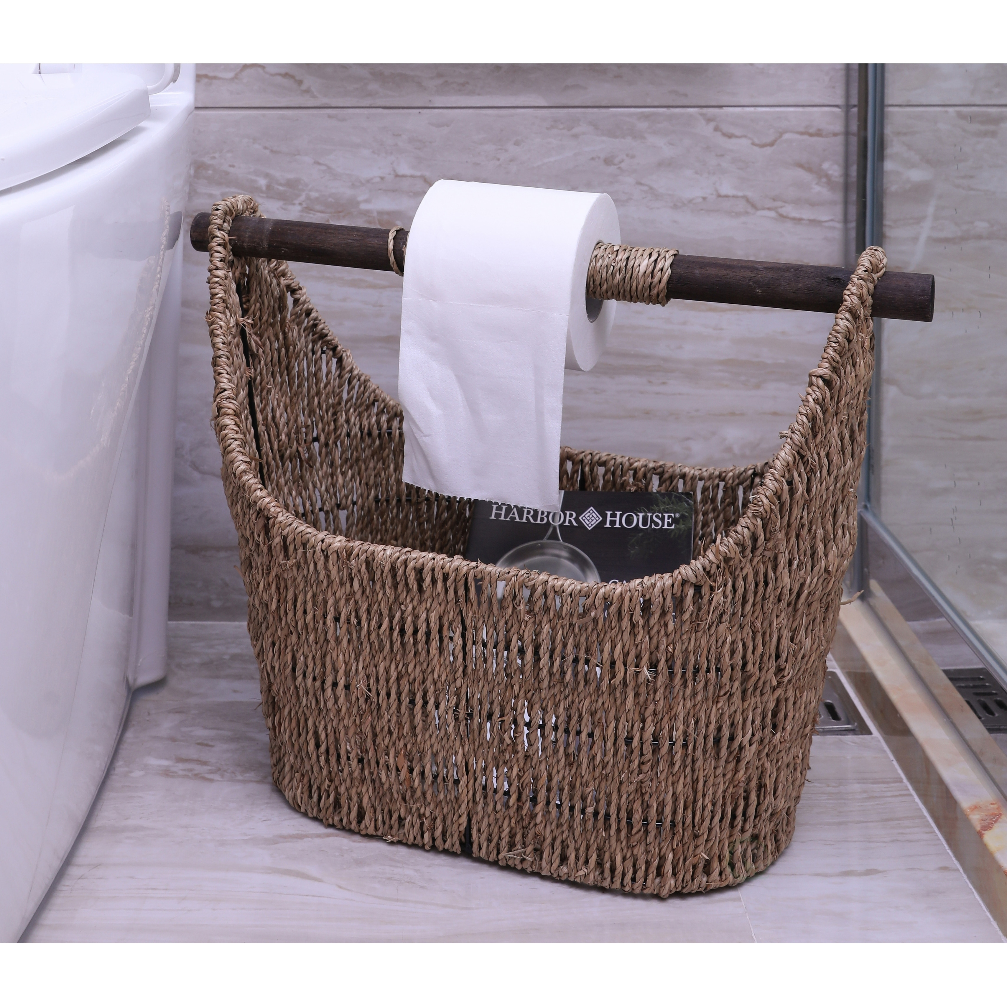 free standing news paper toilet paper holder basket with wooden rod