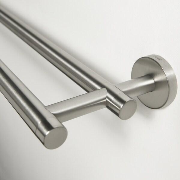 Shop Tiger Towel Rack Double Boston Brushed Stainless Steel | Brushed Stainless Steel Handrail | Rectangle | Glass Panel Wooden Handrail | Brushed Chrome | Matte Finish | Flat Bar Steel