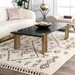 Nuloom Off White Contemporary Soft Marrakech Boho Chic Aztec Tassel Shag Area Rug 7 10 X 10