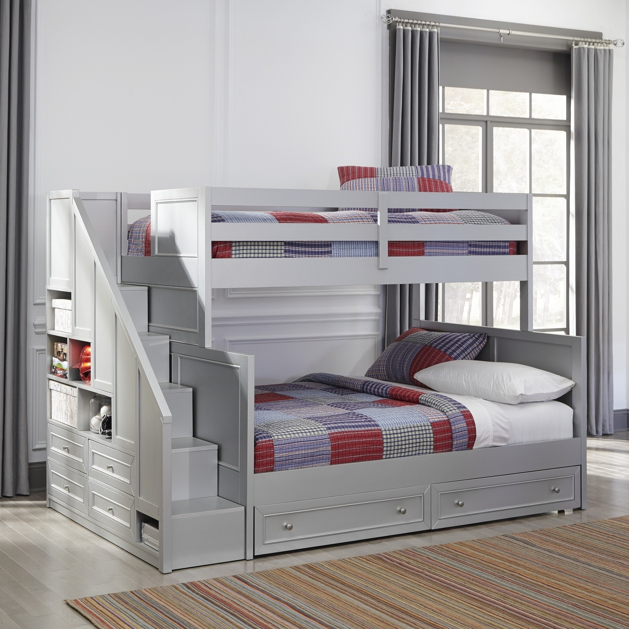 Copper Grove Dugaresa Grey Wood Twin Over Full Bunk Bed With Steps And Lower Storage Drawers Overstock 24079063
