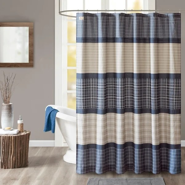 Shop Woolrich Flagship Blue Grey Cotton Printed Plaid Shower Curtain Free Shipping On Orders