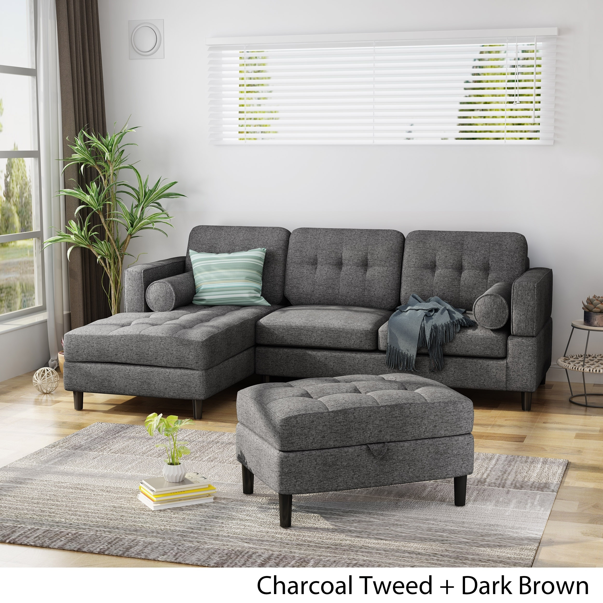 florentia upholstered 2 piece chaise sectional sofa set with storage ottoman by christopher knight home