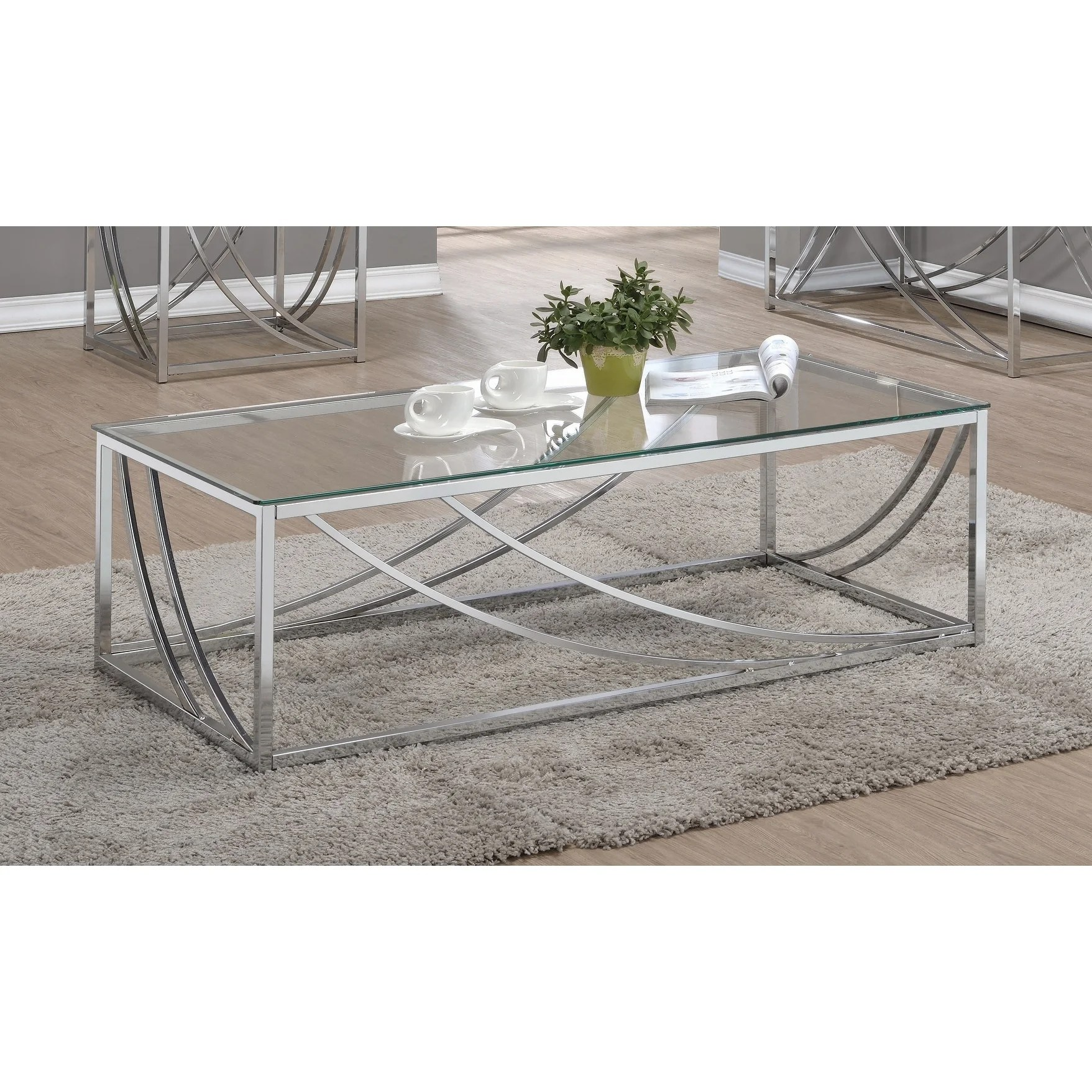 Shop Silver Orchid Brockwell Contemporary Chrome Coffee Table Overstock 24185521