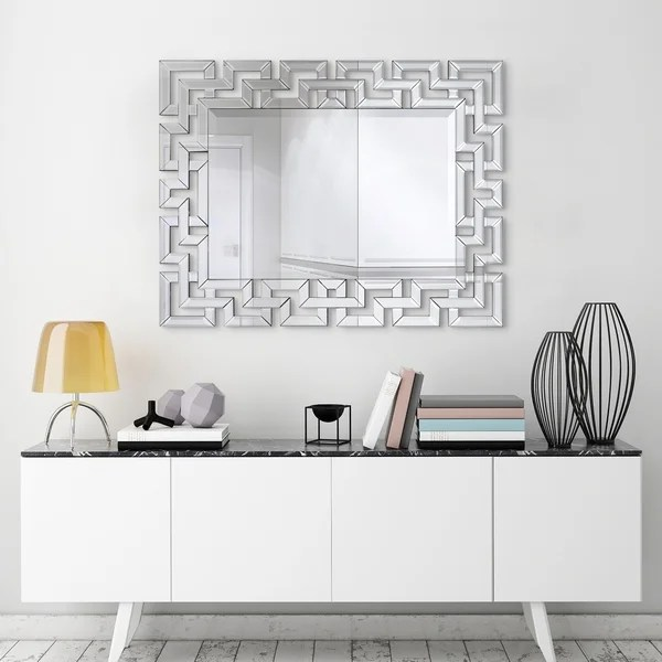 Shop Elegant Beveled Decorative Wall Mirror Bathroom Bedroom Living Room Ready To Hang Clear 31 In X 0 79 In X 40 In Overstock 24220395