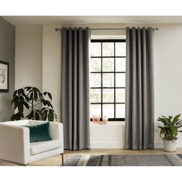 intensions forest collection 95 inch curtain rod with bell finials and ceiling brackets 95 inches