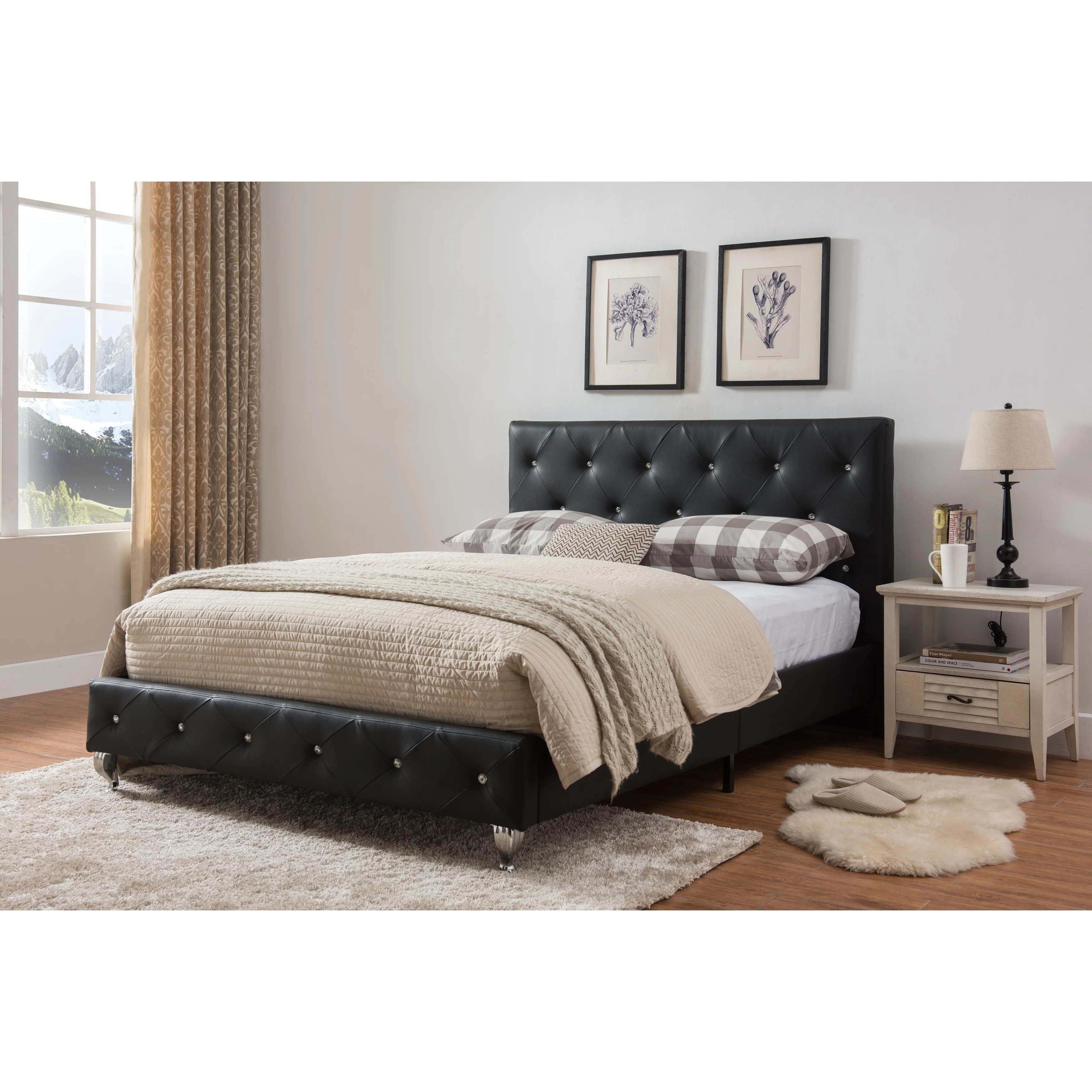 King Size Upholstered Beds Black Faux Leather On Sale Overstock 24238761