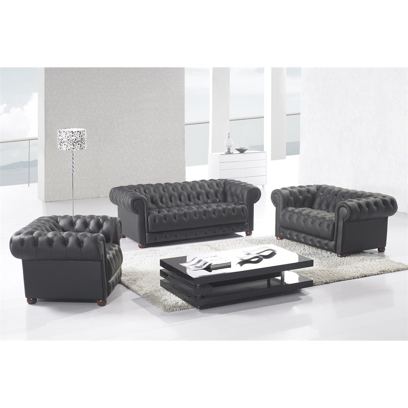 Shop Matte Black Modern Contemporary Real Leather Configurable Living Room Furniture Set With Sofa Loveseat And Chair On Sale Overstock 24239956 Brown