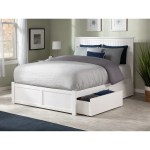 Nantucket King Platform Bed With Flat Panel Foot Board And 2 Urban Bed Drawers In White Overstock 24267151