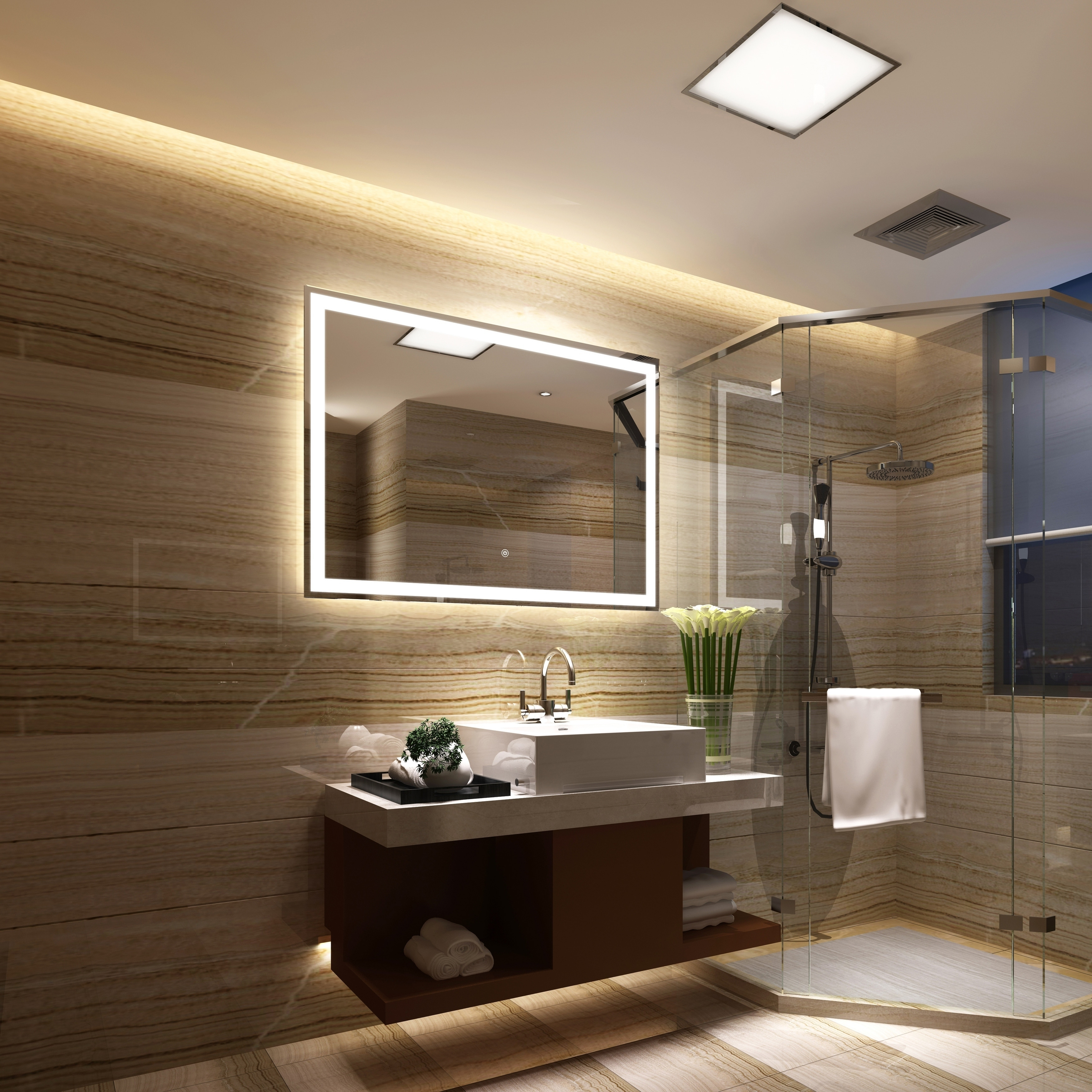 Shop Frameless Wall Mounted Led Bathroom Mirror Colorless Overstock 25435176