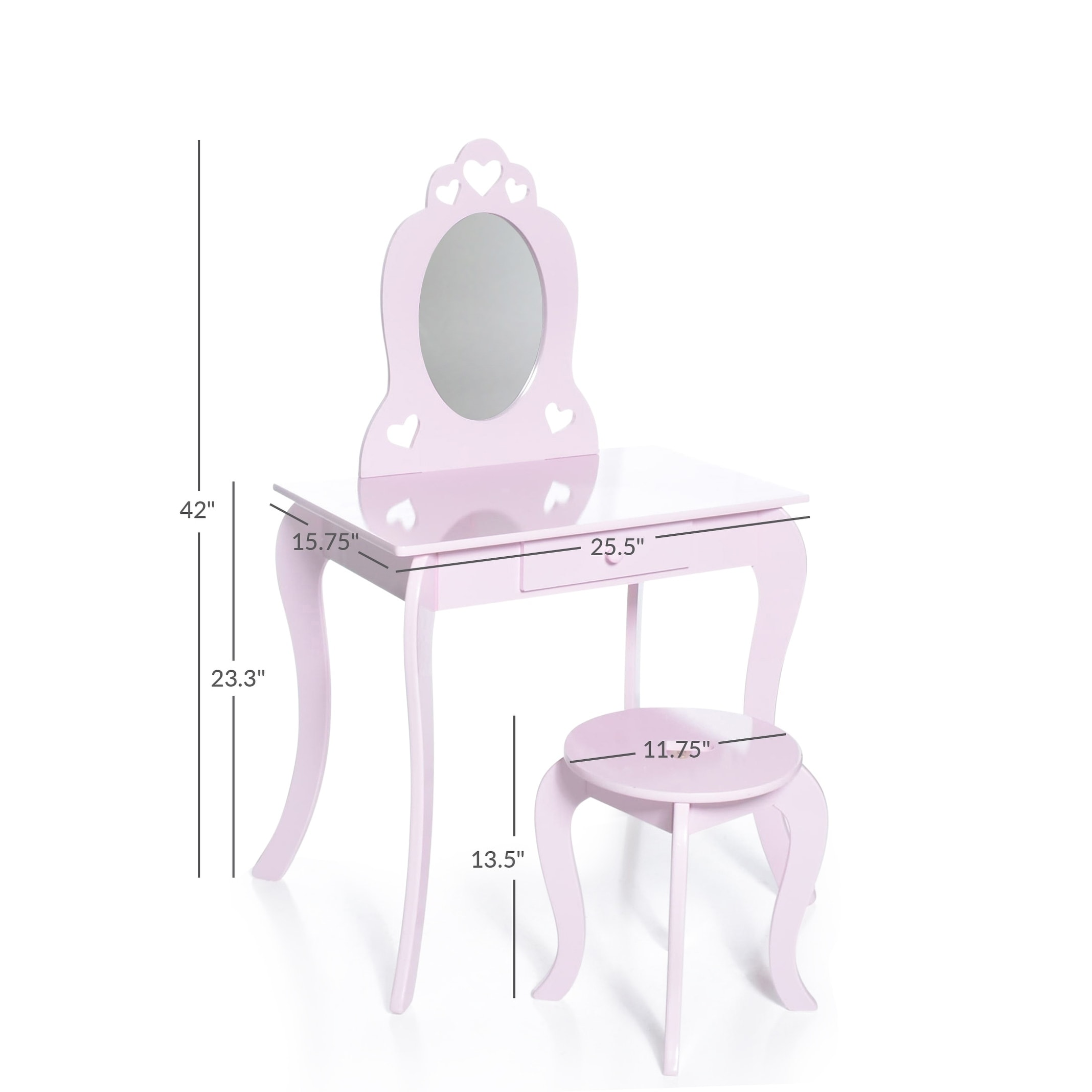 milliard kids vanity makeup table and chair set pretend beauty make up stool play set for children pink with mirror